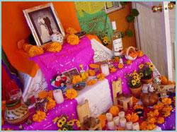 Altar en ofrenda a los muertos.